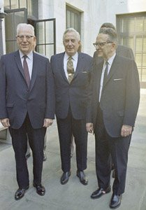 Supreme Court justices at the court after Blackmun was sworn in June 9, 1970. From left to right:  Former Justice Earl Warren, Chief Justice Warren E. Burger and Associate Justice Harry Blackmun. (AP Photo: Bob Daugherty)