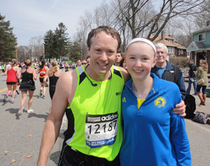 Hennepin County District Court Judge Jay Quam stopped at mile 17 of the Boston Marathon to take a photo with his daughter. (Submitted photo)