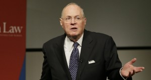 Supreme Court Justice Anthony Kennedy speaks to faculty members at the University of Pennsylvania law school, Thursday, Oct. 3, 2013, in Philadelphia. Kennedy's opinion in the affirmative action case is invoked in challenges to state bans on same-sex marriage (AP Photo/Matt Slocum)
