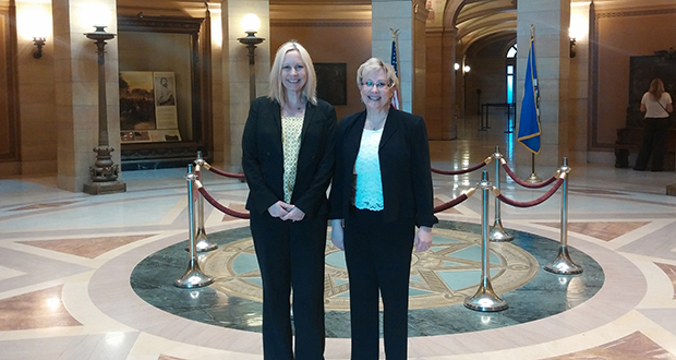 Attorneys Sarah Jane Demers, left, and Katherine MacKinnon at the Supreme Court after MacKinnon tried to persuade the court that a life insurer should honor its policy. (Submitted photo)
