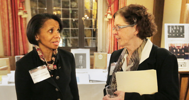 Supreme Court Justice Wilhelmina Wright, left, chats with Sara Wahl, Rosalie Wahl's daughter. (submitted photo)
