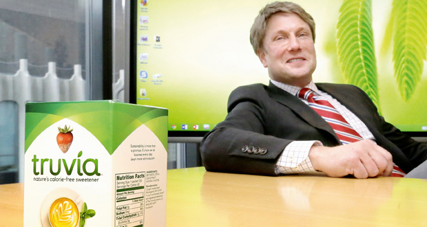 """Noting that the sweetener Truvia is the result of a 40-step process that begins with the stevia plant, attorney Clayton Halunen, above, says, """"No reasonable consumer would believe it's natural."""" Cargill has agreed to a $6.1 million class action settlement over the sweetener, which was advertised as completely natural. (Staff photo:Bill Klotz)"""