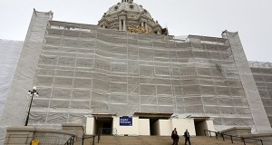 The Minnesota State Capitol Preservation Commission approved a recommendation to do additional repairs to prevent water leaks at the Capitol, including reconstruction of these stairs on the south side of the building in St. Paul. (Staff photo: Bill Klotz)