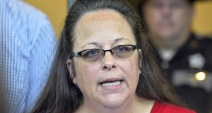 Rowan County Clerk Kim Davis makes a statement Sept. 14 to the media at the front door of the Rowan County Judicial Center in Morehead, Ky. (AP file photo)
