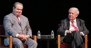 U.S. Supreme Court Justice Antonin Scalia was genial during his prepared remarks Tuesday, but showed his more acerbic side when answering questions from law students. Scalia, left, and attorney Robert Stein, sponsor of the annual Stein Lecture.(Staff photo: Bill Klotz)