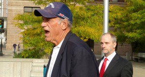 Former Minnesota Gov. Jesse Ventura, accompanied by his attorney, David Bradley Olsen, addressed the media last October after oral arguments before the 8th U.S. Circuit Court of Appeals in St. Paul. (File photo: Mike Mosedale)