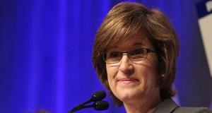 State Auditor Rebecca Otto is engaged in a dispute with legislators over a law change allowing counties to outsource financial audits to private companies. (AP file photo: Jim Mone)