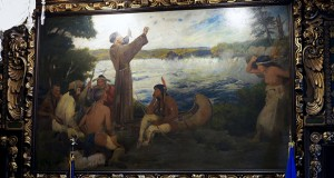 """A painting by Douglas Volk titled """"Father Hennepin Discovers St. Anthony Falls"""" has hung in the Governor's Reception Room at the Capitol in St. Paul. A top concern among members of a Capitol artwork panel is the depiction of Native Americans and historical events in paintings deemed insensitive. AP file photo: Jim Mone"""