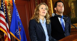 Rebecca Bradley spoke to the media Oct. 9, 2015, after it was announced that she was being appointed to the Wisconsin Supreme Court by Gov. Scott Walker, right. AP file photo: Wisconsin State Journal