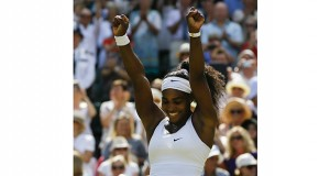 Serena Williams of the United States celebrates winning the women's singles final at Wimbledon on July 11, 2015. AP file photo