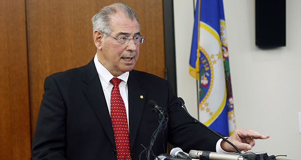 Hennepin County Attorney Mike Freeman announces Wednesday, March 30, 2016, that no charges will be filed against two Minneapolis police officers in the fatal shooting of a black man, Jamar Clark, last November, in Minneapolis. Community activists in Minneapolis say they don't accept the prosecutor's decision. AP Photo