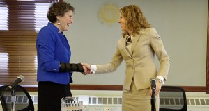 Supreme Court Justice Rebecca Bradley, right, shakes hands with her election challenger, JoAnne Kloppenburg, after appearing at a Milwaukee Bar Association forum Wednesday, March 9. AP photo: Milwaukee Journal-Sentinel