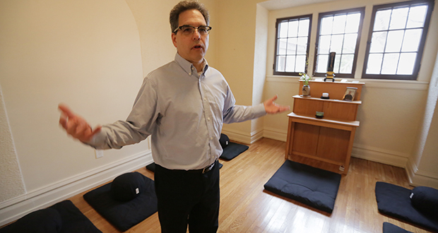 """Maslon partner Wayne Moskowitz is president of the Minnesota Zen Meditation Center's board. """"The skills you learn from meditation can be really good for lawyers,"""" said Moskowitz, shown at the center in Minneapolis. Staff photo: Bill Klotz"""