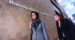 The Child Protection Clinic was formed by former state public defender Joanna Woolman, left, shown arriving with a student at the Ramsey County Juvenile Service Center.  Submitted photo: Mitchell Hamline School of Law