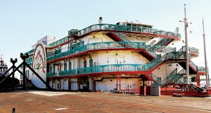 The former Argosy Sioux City riverboat casino sits idle and docked at in Wood River, Illinois, in 2014. (AP file photo)