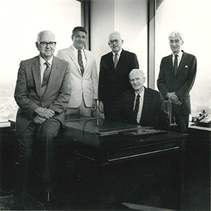 Partners in the 1980s: John Mooty, Russ Bennett, Mel Mooty, Frank Gray, Frank Plant. (Submitted photo)