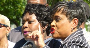 """Former TV judge Glenda Hatchett, right, speaks as Valerie Castile, the mother of Philando Castile, listens during a news conference on the State Capitol grounds Tuesday in St. Paul. Hatchett is representing the Castile family following the July 6 shooting death by police of Philando Castile in Falcon Heights. """"Yes, there will be a lawsuit,"""" Hatchett said. (Staff photo: Mike Mosedale)"""