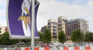 Last month, U.S. District Judge Donovan Frank ruled that U.S. Bank rival Wells Fargo had to remove illuminated signage atop its two 17-story office towers near the new U.S. Bank Stadium. The rooftop signage in dispute pointed skyward and was not visible from the ground. (File photo: Bill Klotz)