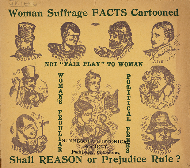 """On another page of the pamphlet, a cartoon satirizes how little women had in common with other non-voters (their """"peculiar political peers""""); women are shown peaceably reading and baby dandling, surrounded by unsavory personifications of disenfranchised cliques -- the """"convict,"""" the """"insane man,"""" the """"boodler"""" (a trafficker in stolen goods).(Submitted image: Minnesota Historical Society)"""