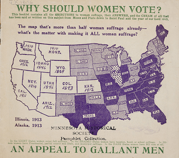 """This 1915 pamphlet, donated by the Minnesota League of Women Voters, uses a map of voting rights across the country in an """"appeal to gallant men"""" to give suffrage to all women, not just those living in the west. (Submitted image: Minnesota Historical Society)"""