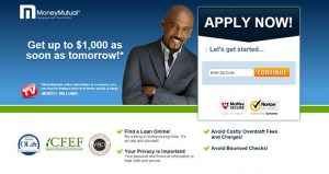 MoneyMutual's homepage features television personality Montel Williams.