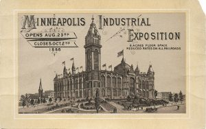 The Industrial Exposition Building included a 240-foot public observation tower, making it the tallest structure in Minneapolis when it was completed in 1886. The state-of-the-art meeting space was a major selling point in bringing the 1892 Republican convention to the city, but lackluster attendance at the convention doomed the Exposition Building, which was sold a few years later for just $25,000, a tenth the construction cost (Submitted image: Minnesota Historical Society)