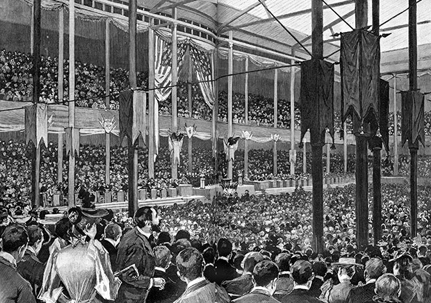 """The Exposition Building was decorated with gold drapes, gilded columns, drawings of eagles and gold stars painted on the skylights. The goal of the decorations committee was to """"appear artistic but not gaudy, patriotic and grand but not overdone."""" (Submitted image: Minnesota Historical Society)"""