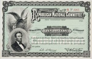 This receipt was given to donors to the Republican National Committee. Adjusted for inflation, $10 in 1892 was worth about $250 in today's dollars. (Submitted image: Minnesota Historical Society)