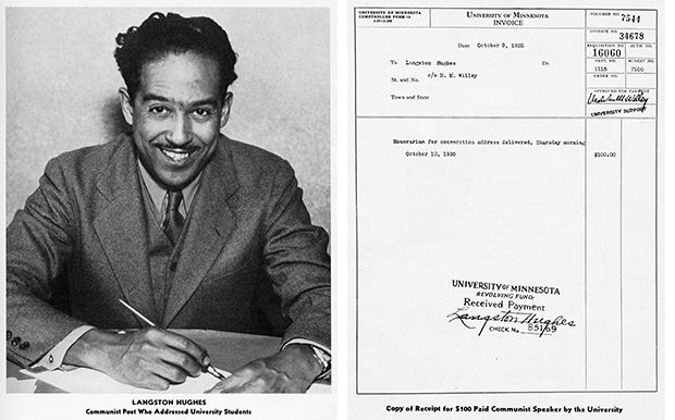 """Chase attacked Benson by association with the famous jazz poet Langston Hughes, who had been invited to the University of Minnesota campus by Benson appointees. Chase included an excerpt from Hughes' poem """"Christ in Alabama"""" as example of the type of degradation of Christian values a second Benson term would bring. (Submitted image: Minnesota Historical Society)"""