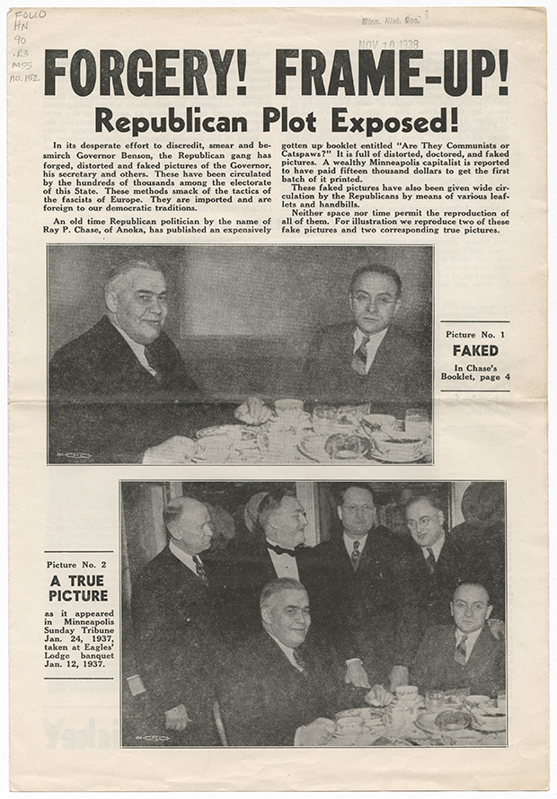 """This four-page leaflet was released by Gov. Elmer Benson's re-election committee a week before the 1938 election. The cover shows how """"Are They Communists or Catspaws?"""" manipulated an image of the governor to make it appear that he dined alone with Roger Rutchick, a Jewish aide. The leaflet was published too late to make a difference, and Benson lost the election in a landslide. (Submitted image: Minnesota Historical Society)"""