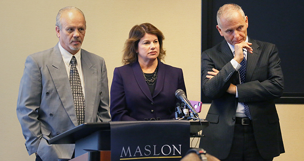 Three days after his release from prison, Terry Lynn Olson, left, speaks to journalists Sept. 16, accompanied by Julie Jonas of the Minnesota Innocence Project and attorney David Schultz. (Staff photo: Bill Klotz)