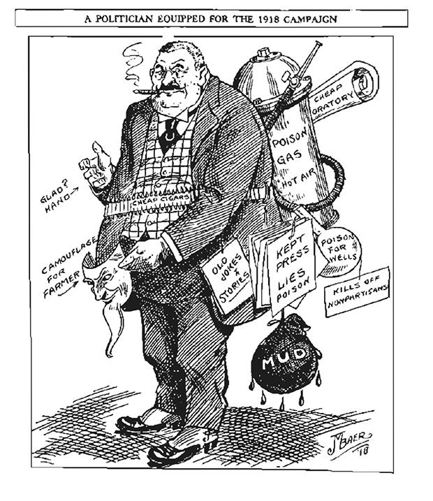 This caricature of a Commission of Public Safety member was published on March 11, 1918, in the Nonpartisan Leader. The cartoon references the commission's tacit endorsement of violence against Nonpartisan Leaguers and its network of surveillance.  (Submitted image: Minnesota Historical Society)