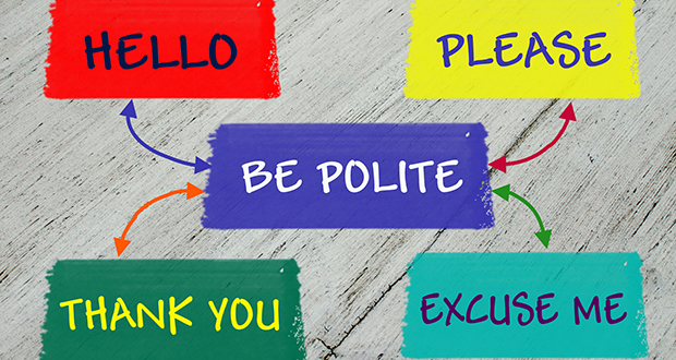 Be polite educational message