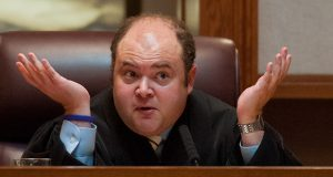 Minnesota Supreme Court Justice David Stras questions attorneys during a hearing in 2012. He was nominated to the 8th Circuit this week by President Trump(AP file photo)