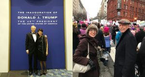 Minneapolis lawyers Cathy Gorlin and Marshall Tanick at the inauguration of Donald Trump and on the streets of D.C. (Submitted images)