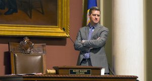 House Speaker Kurt Daudt, R-Crown, watches over the House floor during debate over the Health Care Emergency Aid and Access bill for insurance premium relief. The bill passed the House on Jan. 19 by a 73-54 vote and now moves to conference committee. (Staff Photo: Kevin Featherly)