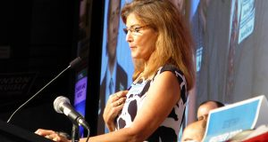 Michelle MacDonald speaks at the 2014 Republican state convention in Rochester. (File photo: Mike Mosedale)