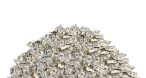 Pile with dollar bills