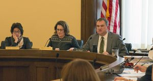 Sen. Michelle Benson, R-Ham Lake (center) and Rep. Joe Hoppe, R-Chaska (right) led the conference committee that passed a compromise health insurance premium relief bill Wednesday. The bill, which is set for Thursday House and Senate floor votes, adopts Gov. Mark Dayton's 25 percent premium relief plan while retaining several GOP reforms, such as allowing for-profit insurers to do business in Minnesota. Senate Counsel Katie Cavanor is pictured at left. (Staff photo: Kevin Featherly)