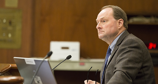 Nathan Gove, the Minnesota Peace Officer Standards and Training Board' executive director, asked the House Public Safety and Security Policy and Finance Committee on Feb. 1 for $10 million over the next biennium for mandatory police training. (Staff photo: Kevin Featherly)
