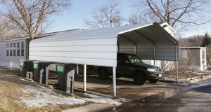 """Some residents of Rambush Estates Manufactured Home Park in Burnsville were informed they had to remove """"nonconforming"""" accessory structures such as carports, with the caveat that they could apply for a variance if they were willing to pony up a $1,750 application fee. (Staff photo: Bill Klotz)"""