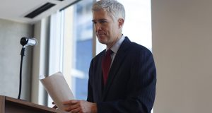 Judge Neil Gorsuch has won praise among liberals and others in the Colorado legal community for his fair-mindedness and defense of the underdog. In this Jan. 27 photo, Gorsuch speaks to a group of attorneys in Denver. (AP photo)