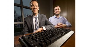 Brian Potts (left) and Chase Means have created the LegalBoard, the world's first keyboard dedicated to attorneys. (Photo: Kevin Harnack, Wisconsin Law Journal)