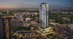 Alatus LLC hopes to begin site work in April for its 40-story project called 200 Central Condominiums at 200 Central Ave. SE in Minneapolis, near St. Anthony Main. (Submitted illustration: Alatus LLC)