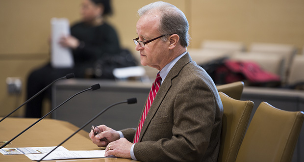 Sen. Warren Limmer, R-Maple Grove, testifies before the Senate Judiciary Committee, where he is chair. His bill to provide $9.2 million in emergency medical funding to the Corrections Department is moving ahead. (Staff photo: Kevin Featherly)
