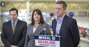 GOP legislators brief reporters on Real ID at an airport press gathering. Pictured are the bill's House author, Rep. Dennis Smith, R-Maple Grove (left), House Majority Leader Joyce Peppin, R-Rogers, and House Speaker Kurt Daudt, R-Crown. (Staff photo: Kevin Featherly)