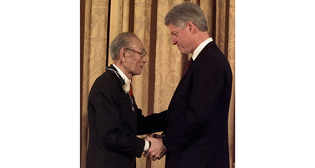 """On Jan. 15, 1998, President Clinton presented Fred Korematsu with a Presidential Medal of Freedom at the White House. Korematsu's legal challenges to civilian exclusion orders during World War II helped spur the redress movement for Japanese-Americans. The Minnesota State Law Library will host a screening of the PBS film, """"Of Civil Wrongs and Rights: The Fred Korematsu Story"""" at noon Tuesday, April 4. (AP file photo)"""