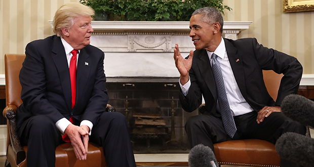President Barack Obama welcomed President-elect Donald Trump to the Oval Office on Nov. 10. Over the weekend, Trump accused Obama of wiretapping his phones but provided no evidence. (AP file photo)
