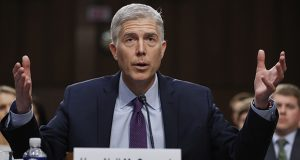 Supreme Court nominee Neil Gorsuch speaks Tuesday during his confirmation hearing before the Senate Judiciary Committee in Washington. (AP photo)