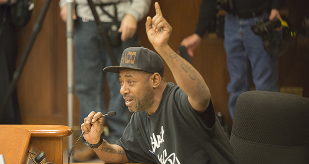 John Thompson, friend of slain motorist Philando Castile, testifies before the House Public Safety Security Policy and Finance Committee on Feb. 22. The committee passed two bills that day that would make blocking freeways during political protests a gross misdemeanor. (Staff photo: Kevin Featherly)